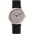 Grey Face Titanium Case Black Leather Strap with Date