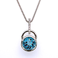 18ct white gold pendant with blue topaz and diamonds